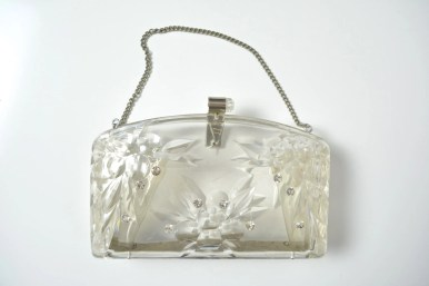 Vintage 1950s 50s Lucite Purse Rhinestones Evening Bag