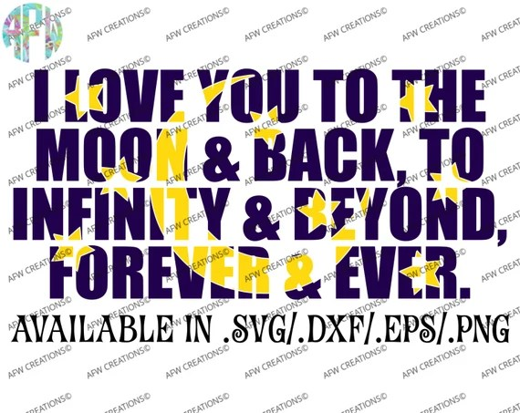 Download Digital Cut File I love you to the moon and back SVG DXF