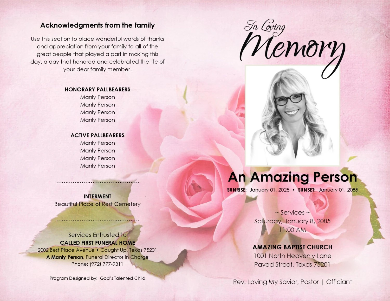 THE BLUSHING ROSES Printable Funeral Program Template