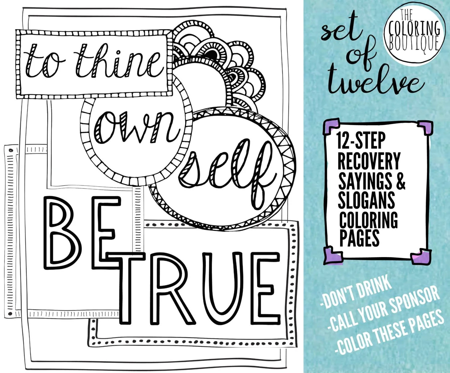 Recovery Coloring Pages 12 Steps Coloring By Thecoloringboutique