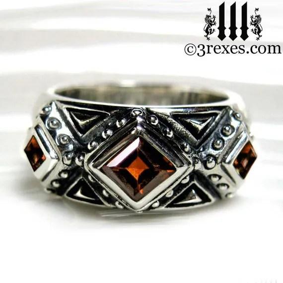 Mens Wedding Ring Gothic Garnet Stone Medieval Silver Band 3