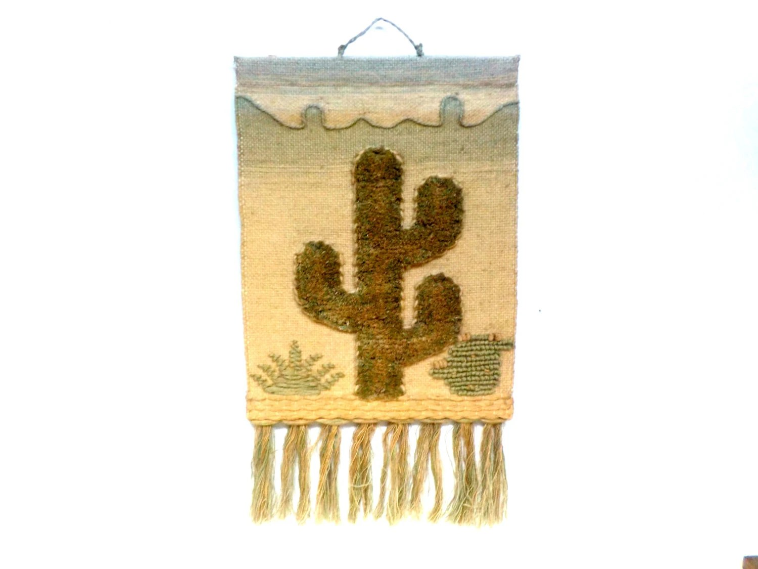 Hanging Southwestern Wall Decor Hand Woven Cactus Yarn And