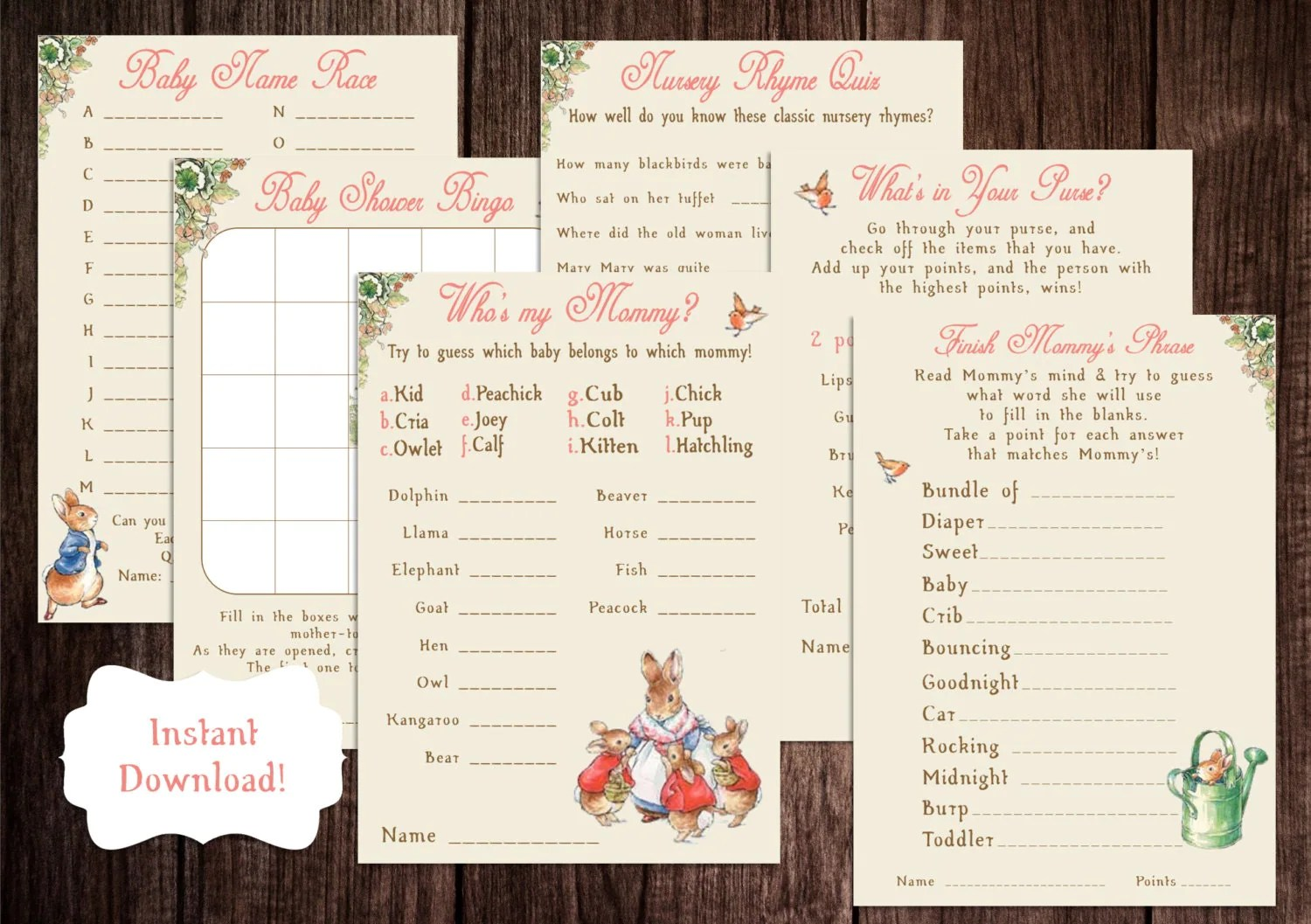 Printable Peter Rabbit Baby Shower Game Package Beatrix