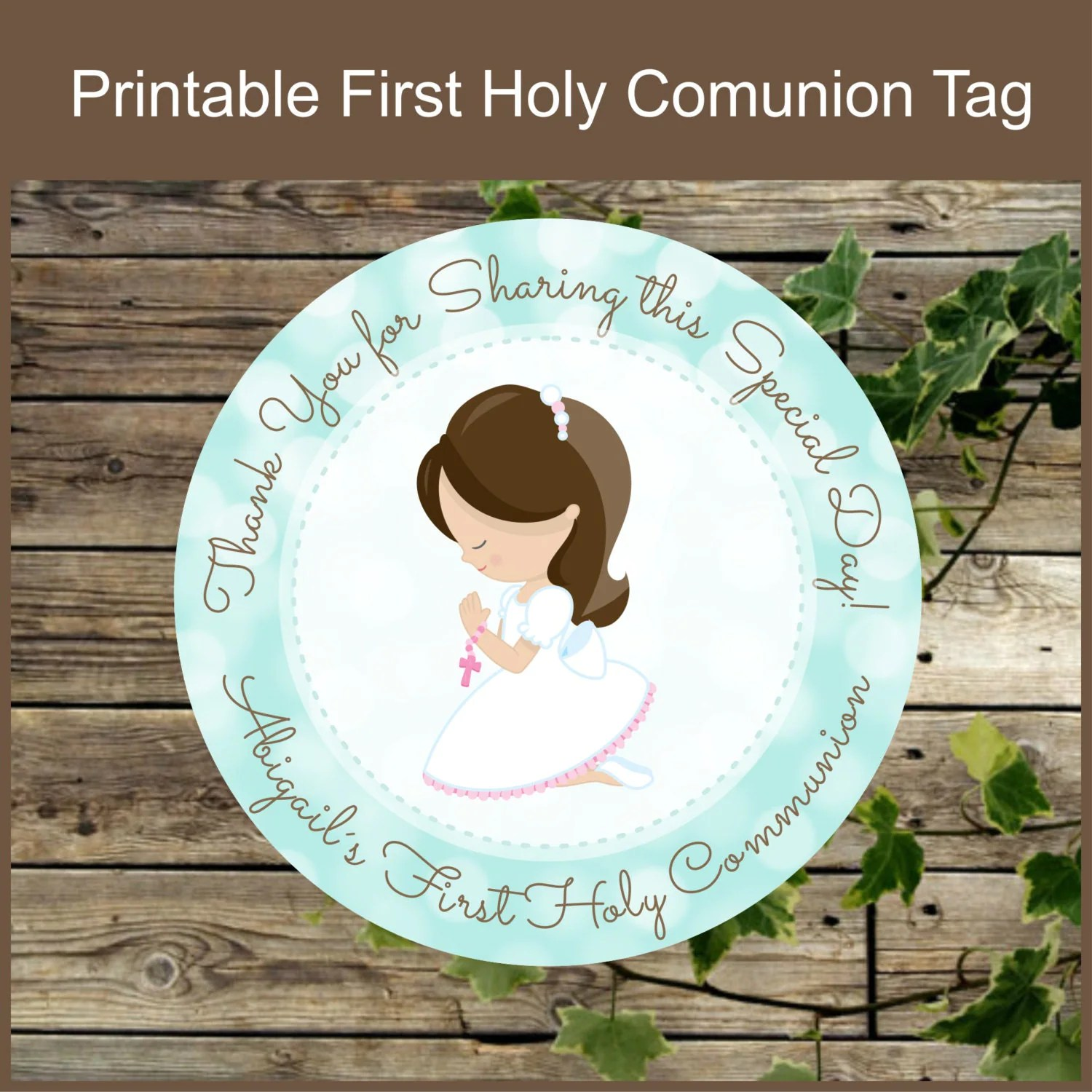 First Holy Communion Girl Favor Tags Printable Label