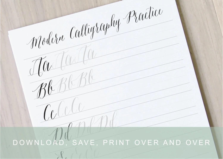 Modern Calligraphy Worksheet Pointed Pen Calligraphy Alphabet