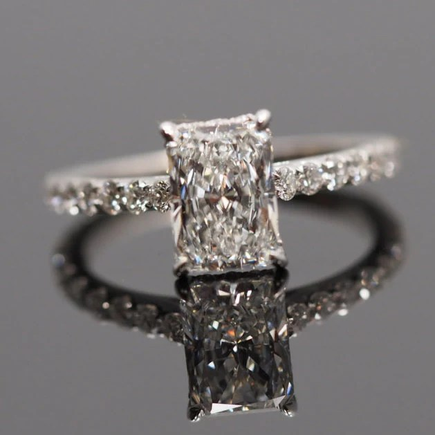 Radiant Cut Solitaire Engagement Ring With Diamonds On Band