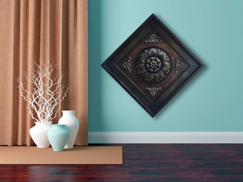 METAL Wall ART Wood Espresso Framed Metal Fleur De Lis