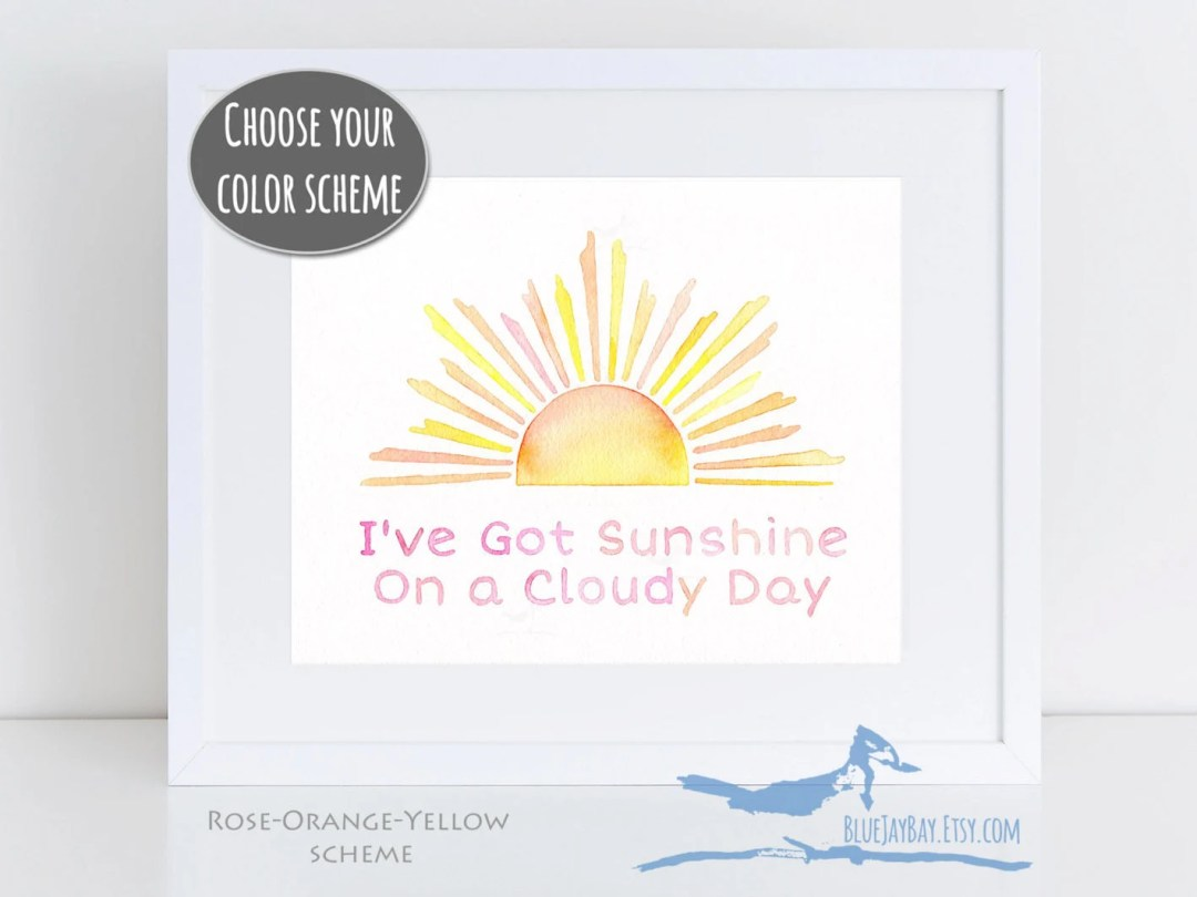 Sunshine art - I've Got Sunshine On a Cloudy Day - new baby gift ideas - Temptations My Girl song lyrics art girls nursery art for daughter