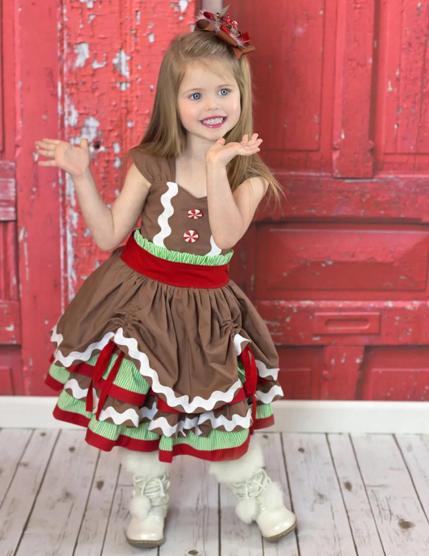 Christmas Dress Girls Dress Gingerbread Dress