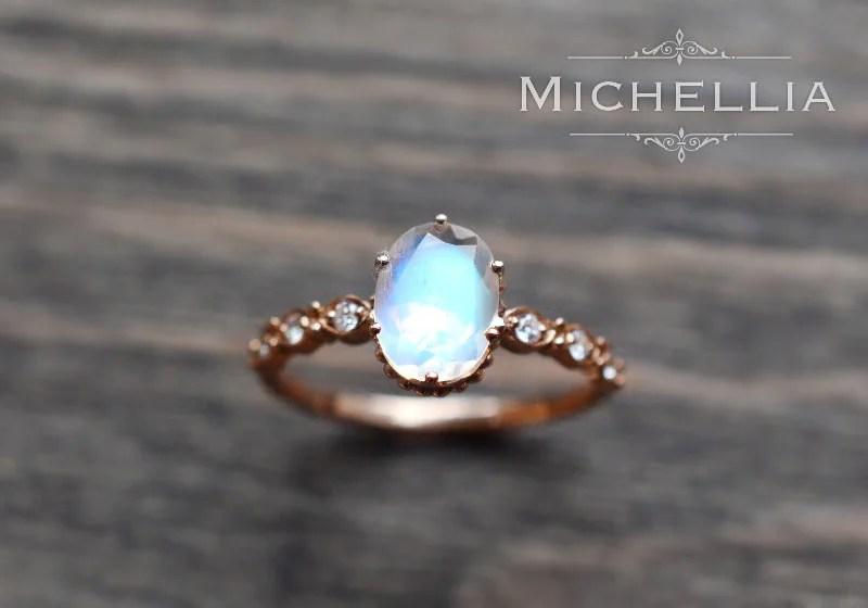 Rose Gold Moonstone Engagement Ring With Diamond 14K 18K