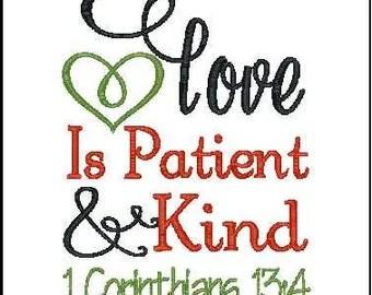 1 Corinthians 13 Love is Patient, Love is Kind - machine ...