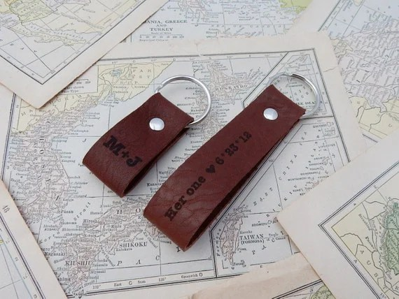 9th Anniversary Gift Leather Keychain Couples Gift Set