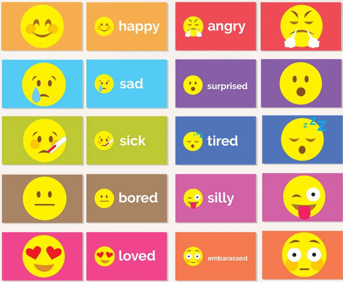 Emotion Flash Cards Printable Emoji Student Flash Cards