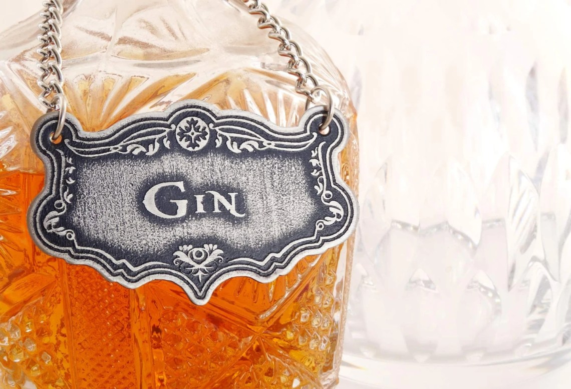 Decanter Label, Gin, Etch...