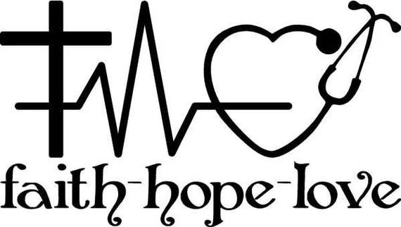 Download Faith Hope and Love vinyl decal with a cross heart rhythm