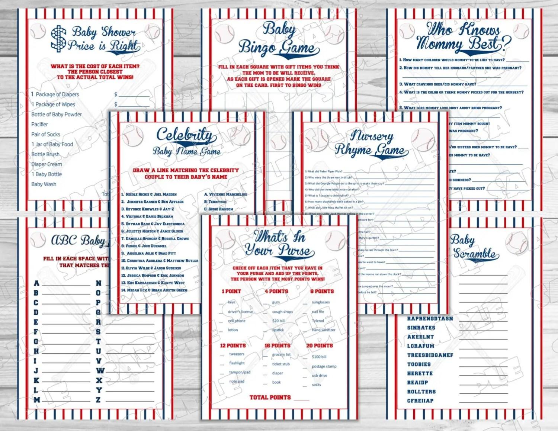 Baseball Baby Shower Games Set Of 8 Games Bundle Printable