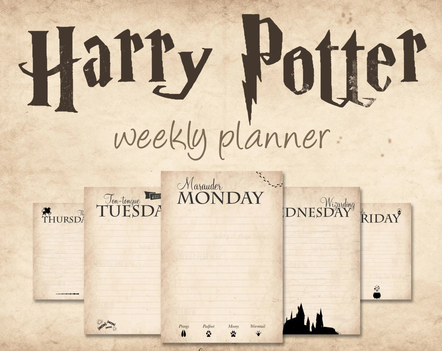 Harry Potter Weekly Planner