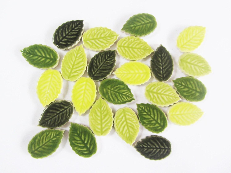 24 Mosaic Leaves Handmade Ceramic Leaf Tiles Mosaic Shapes