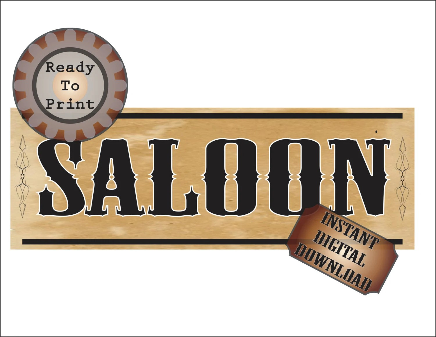 Wild West Saloon Banner Printable 24 By 72 Inch Bachelor