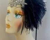 Flapper Headpiece, Great Gatsby Headband, Downton Abbey, Black Silver Flapper Headband, 1920s Headpiece, 1920s Flapper,Flapper Girl Headband