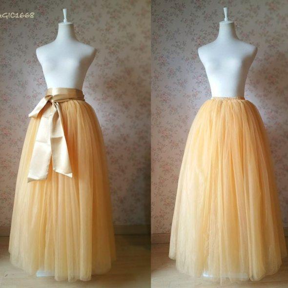 cf46ff3fd2 Full Floor Length Tulle Skirt. Apricot Bridesmaid Tutus. Full Tulle Skirt  Wedding. Maxi Tulle Skirts. Custom Size Belt. Bridesmaid Dress