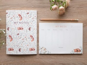 Meadow Notepad and Notebook Bundle : illustrated, A5 weekly planner and a5 journal type of notebook.