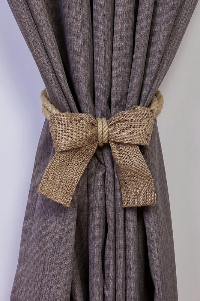 Hemp Rope And Burlap Bow Curtain Tiebacks Nautical Ties Rope Curtain Tiebacks Shabby Chic