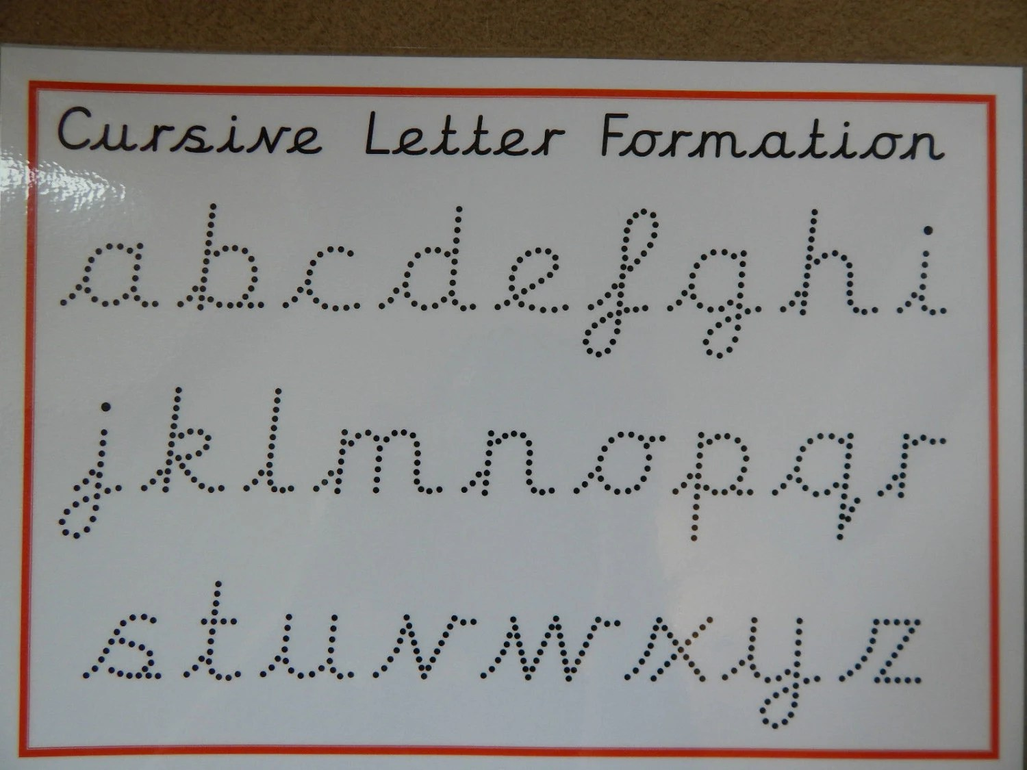 Cursive Handwriting Practice Mat Lower Case Letters Wipe