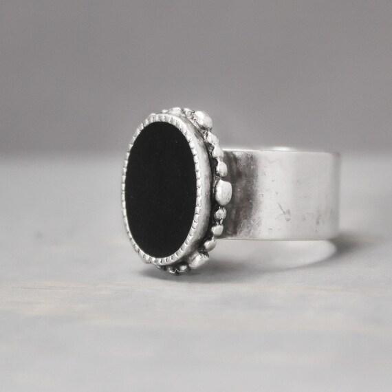Black Tourmaline Ring Adjustable Ring Black Ring Ornate