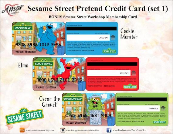Sesame Street Pretend Credit Cards Amp Bonus Membership Card