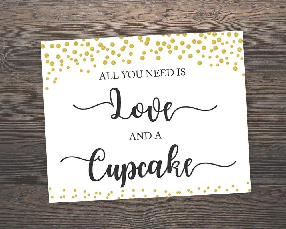 Download All You Need is Love and a Cupcake Wedding Signs Printable