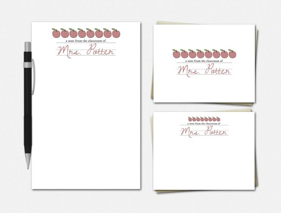 Apples & Cursive: Personalized Teacher Stationery Set