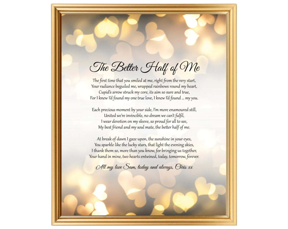 Wedding Anniversary Gift Poem For Him Her Husband Wife Partner