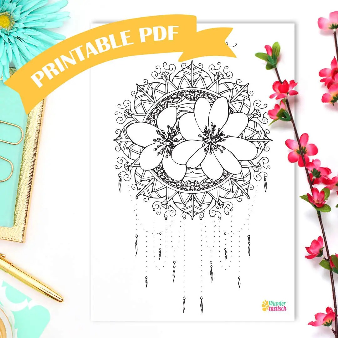 Printable Hello March Monthly Bullet Journal Printables Mandala Coloring Page Adult