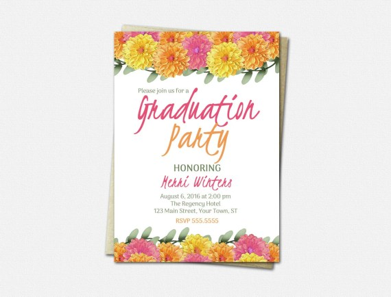 Graduation Party Invitations - High School Graduation Invitation - College Graduation Invitations - Dahlia - Floral Graduation Invitations