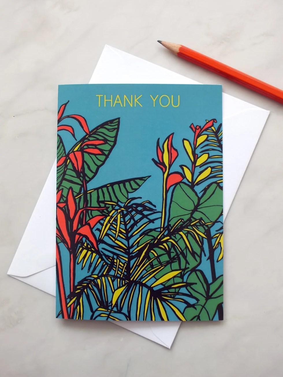 Tropical thank you card. ...