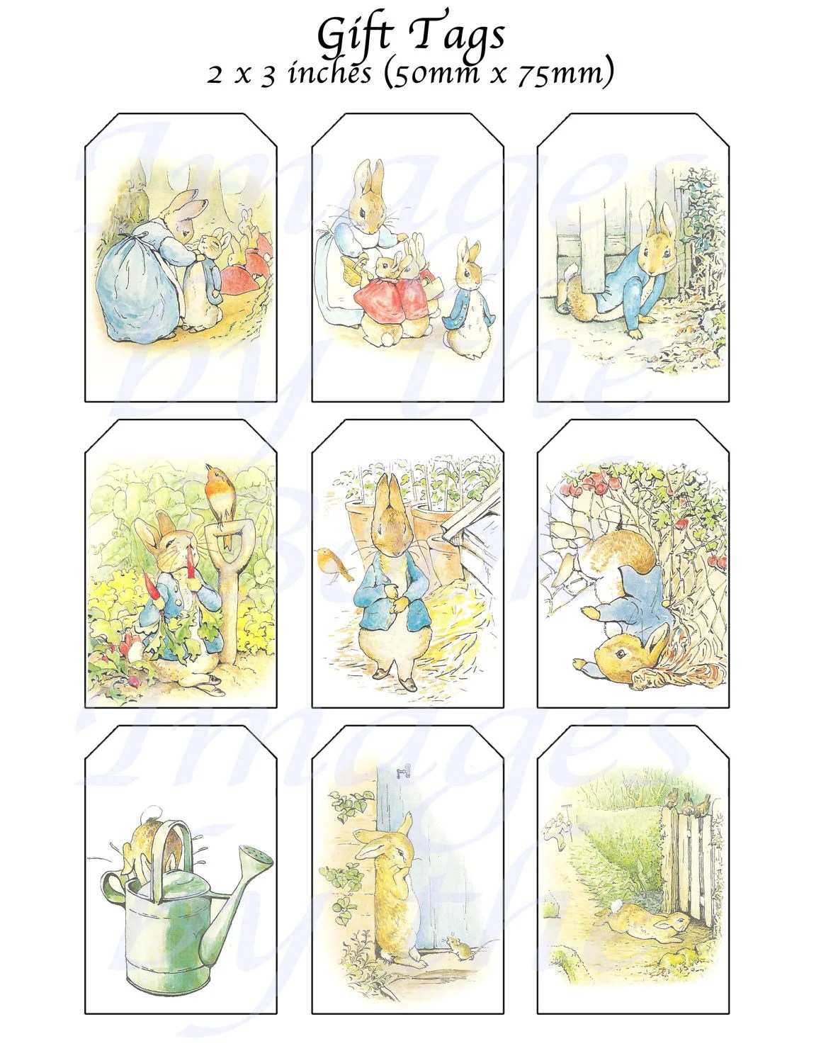 Beatrix Potter S Peter Rabbit Printables T Tags 2 X 3 Inches From Imagesbythebook On Etsy
