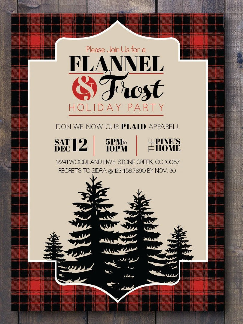 Flannel Amp Frost Holiday Party Printable Invitation By