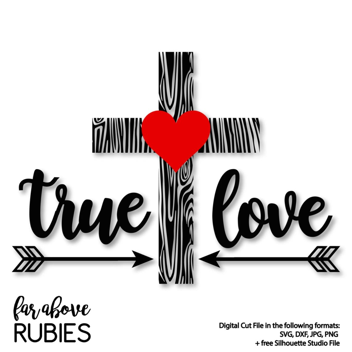 Download Happy Valentine's Day True Love with Wood Pattern Cross ...
