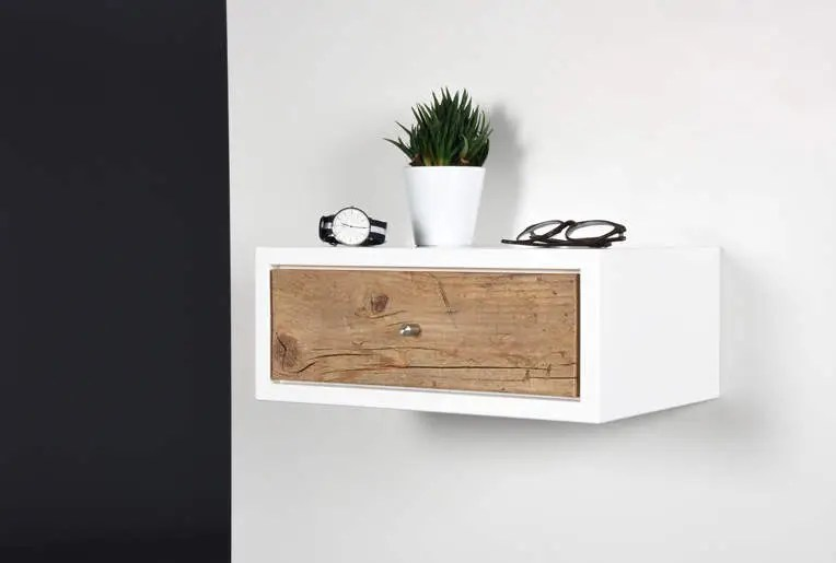 Side Table / Console / Bedside / Floating Small White Side
