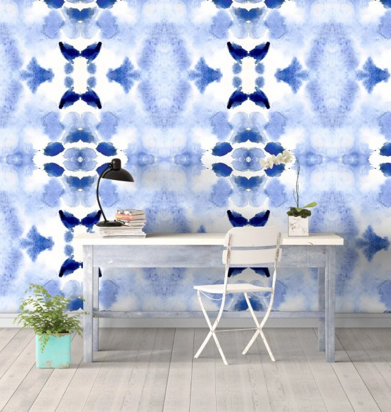 Blue Desert Wall Covering Art Wallpaper Removable Self-Adhesive Wallpaper