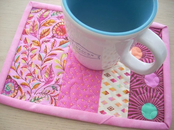 slow and steady in pink mug rug - FREE SHIPPING