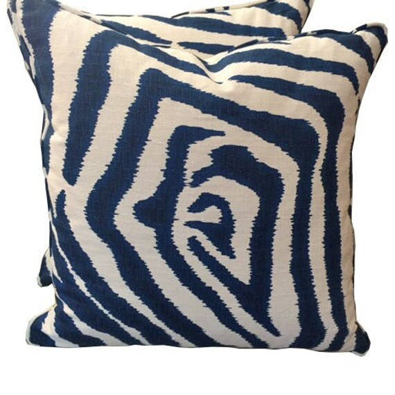 Navy and white zebra designer pattern pillow 20x20