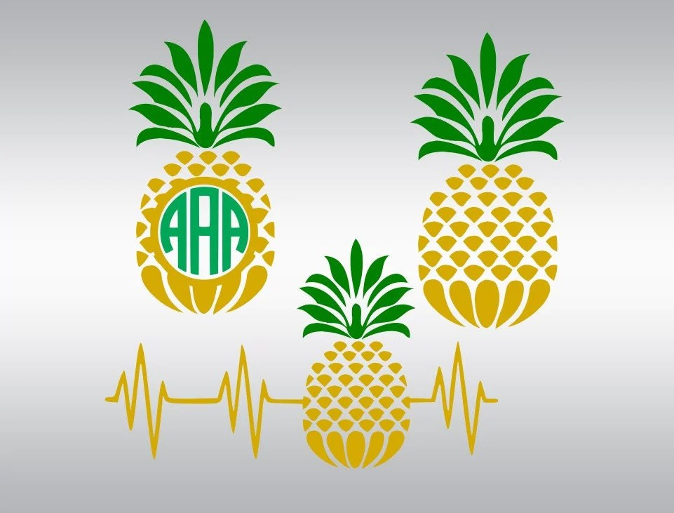Download Pinapple pineapple monogram SVG Clipart Cut Files Silhouette