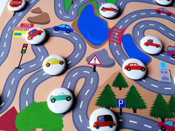 Car Play Set Magnetic - Kid's Party Favors - Montessori Pretend Play - Quiet Toys - Kids Gifts - Stocking Stuffer Magnets - Secret Santa