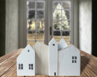 White Wooden Houses Farmhouse Decor Christmas Village Small Wood House Rustic Home