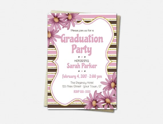 Graduation Party Invitations - High School Graduation Invitation - College Graduation Invitation - Pink Daisy - Floral Graduation Invitation
