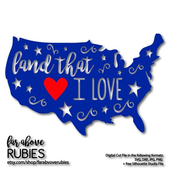 Download Land That I Love America with Heart Stars SVG EPS dxf png