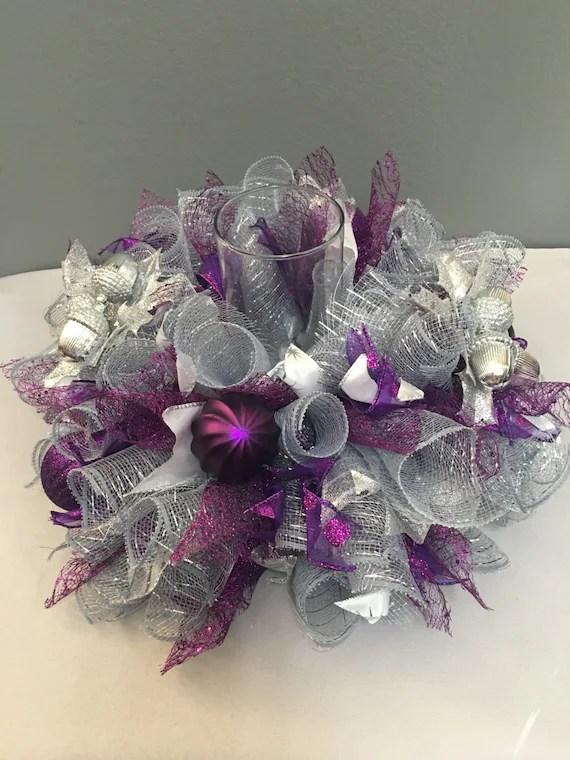 Christmas Centerpiece Purple Amp Silver Centerpiece Table