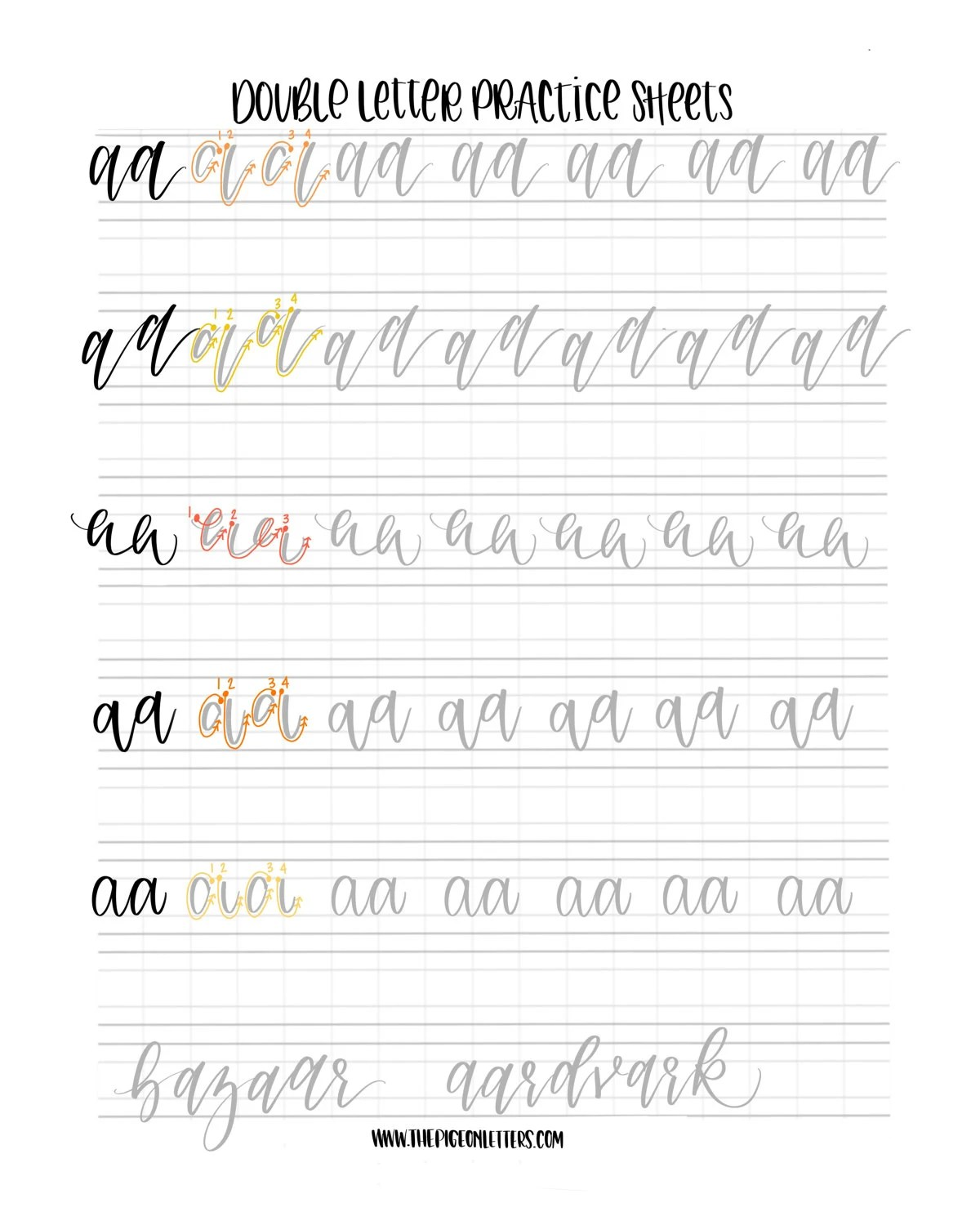 5 Styles Double Letter Practice Sheets